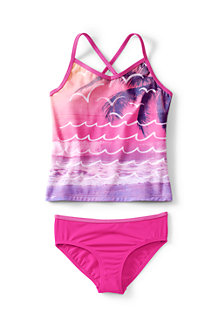 Girls' Smart Swim V-Neck Graphic Tankini Set