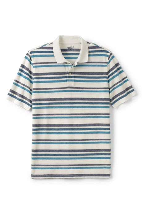 Men's Tall Mesh Short Sleeve Stripe Polo Shirt