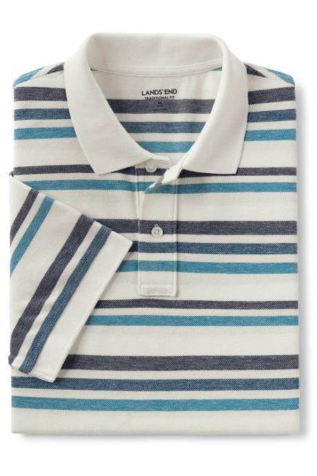 Men's Mesh Short Sleeve Stripe Polo Shirt
