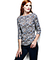 Women's Regular Three Quarter Sleeve Print Boatneck Rib Tee