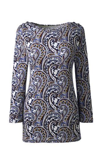 Gemustertes Jerseyshirt mit Schulterknöpfen