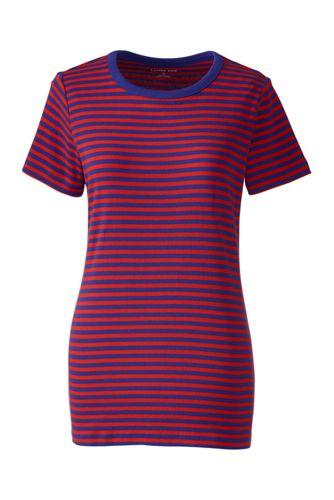 Women's Regular Striped Rib Crew Neck T-Shirt