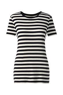 Le T-Shirt Côtelé Rayé à Manches Courtes Femme