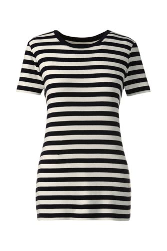 Women's Regular Striped Rib Crew Neck T-Shirt