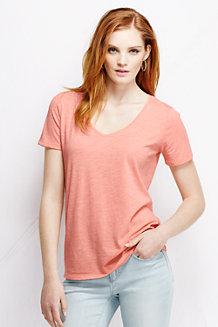 Le T-shirt en Jersey Tri-matière Col en V Femme
