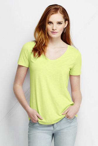 Le T-shirt en Jersey Tri-matière Col en V Femme, Taille Standard