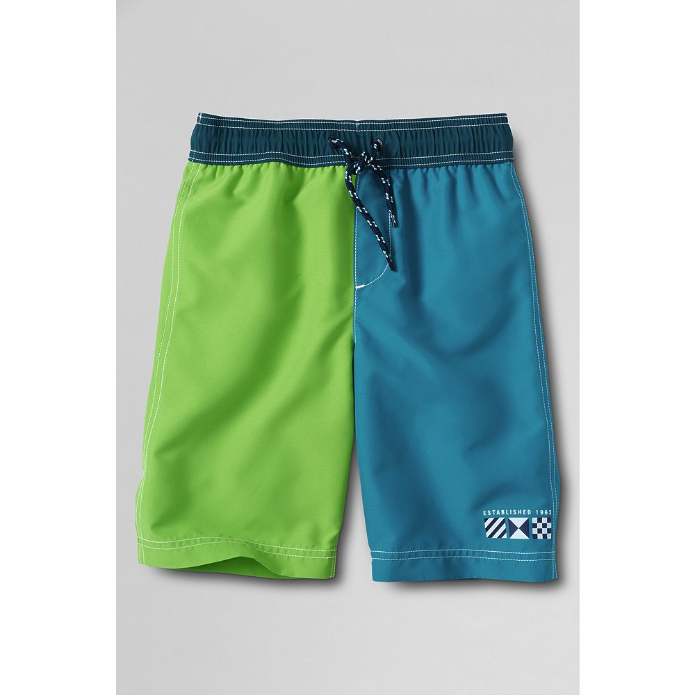 Lands' End Toddler Boys' Slim Colorblock Leg Swim Trunks