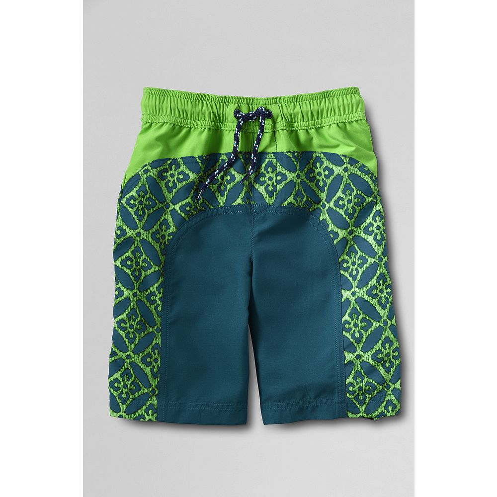 Lands' End Toddler Boys' Curved Colorblock Swim Shorts