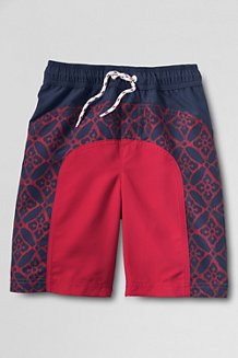 Boys' Patterned Colourblock Swim Shorts