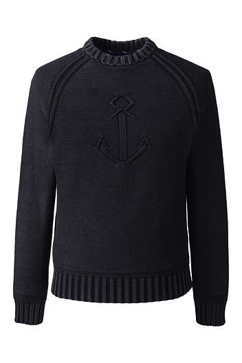 Drifter Anchor Cotton Sweater 460766: Black