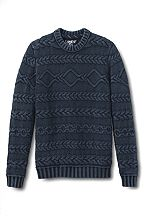 Lands' End Drifter Acid Wash Cable Crewneck Sweater 452756