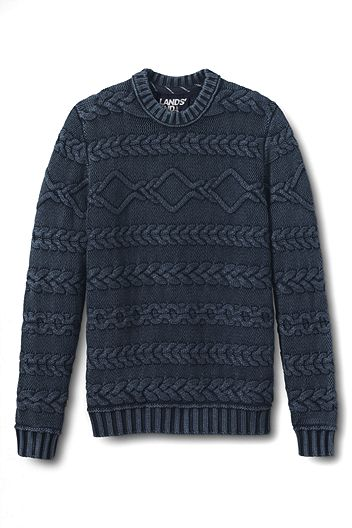 Drifter Acid Wash Cable Crewneck Sweater 452756