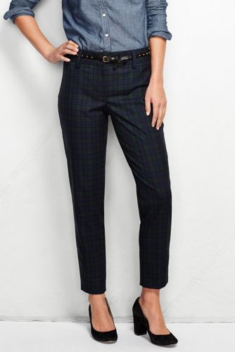 Women's Regular Mid Rise Slim Leg Plaid Trousers