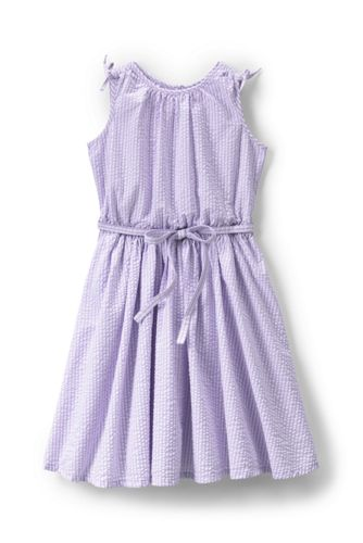 Little Girls' Tie Shoulder Seersucker Twirl Dress