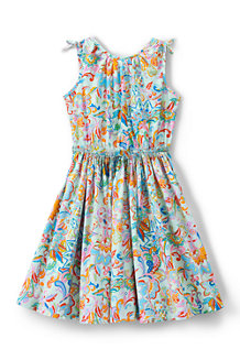 Girls' Tie Shoulder Patterned Twirl Dress