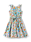 Little Girls' Tie Shoulder Patterned Twirl Dress