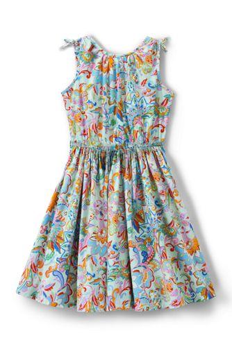 Little Girls' Tie Shoulder Patterned Twirl Dress