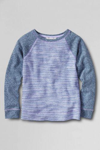 Little Girls' Long Sleeve French Terry Stripe Sweatshirt