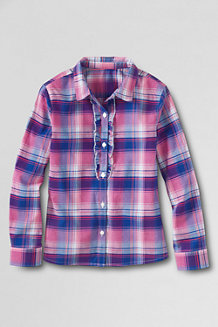 Girls' Patterned Woven Ruffle Front Shirt