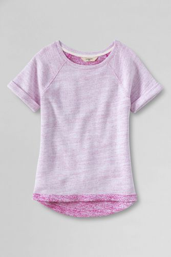 Little Girls' Short Sleeve Heathered French Terry Sweatshirt