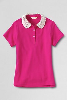 Girls' Short Sleeve Lace Collar Polo