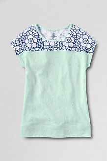 Girls' Lace Detail Flecked Tee