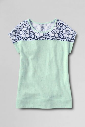 Little Girls' Lace Detail Flecked Tee