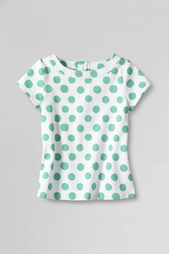Little Girls' Short Sleeve Printed Pique Woven Top
