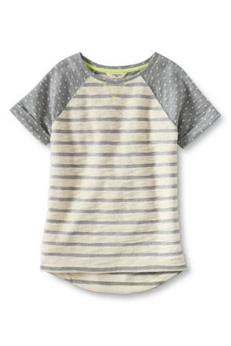 Little Girls' Short Sleeve Textured Print French Terry Sweatshirt
