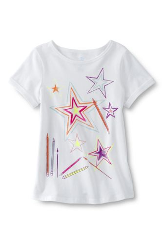 Girls' Short Sleeve Curved Hem Graphic Tee