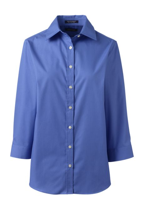 School Uniform Women's Plus Size 3/4 Sleeve Comfort Dress Shirt
