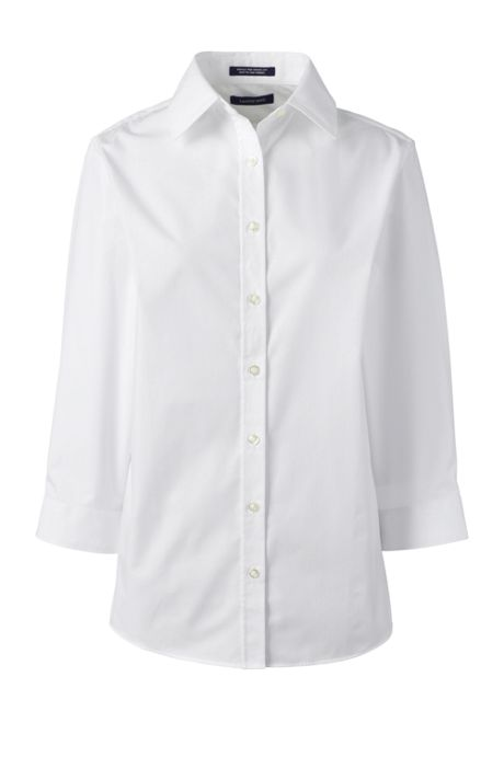 School Uniform Women's Petite 3/4 Sleeve Comfort Dress Shirt
