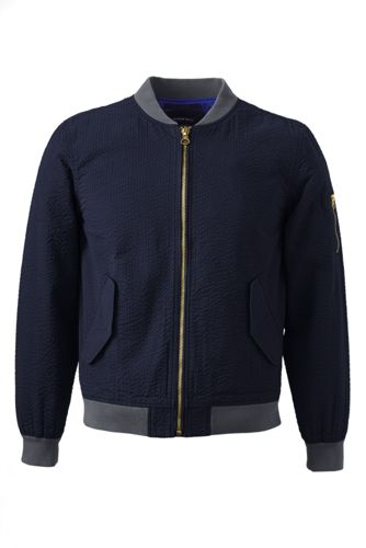 Men's Tailored Seersucker Bomber Jacket