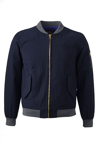 Tailored Seersucker Bomber Jacket 453226: Classic Navy Seersucker