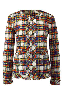 Women's Long Sleeve Stewart Plaid Fringed Jacket