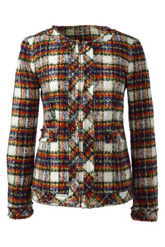 Women's Regular Long Sleeve Stewart Plaid Fringed Jacket