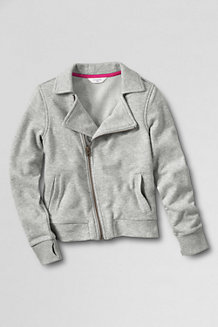 Girls' French Terry Biker-Style Jacket