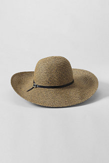 Women's Straw Braid Belted Floppy Sun Hat