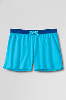 Girls' Plain Contrast Waistband Knit Shorts