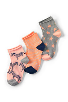 Girls' 3 pack patterned ankle socks