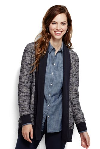 Women's Regular Long Sleeve Tweed Cardigan