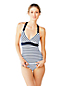 Women's Regular Beach Living V-Neck Halter Tankini Top-Classic Stripe