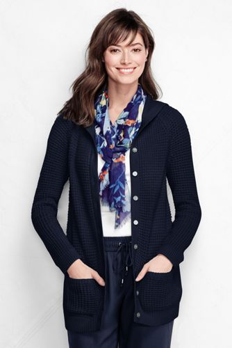 Women's Regular Lofty Blend Waffle Hooded Cardigan