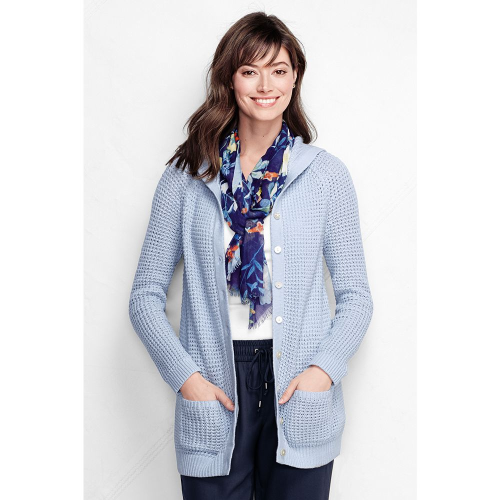 Lands' End Women's Petite Cotton Blend Waffle Hooded Cardigan Sweater