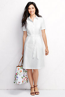 Women's Short Sleeve Broderie Anglaise Shirtdress