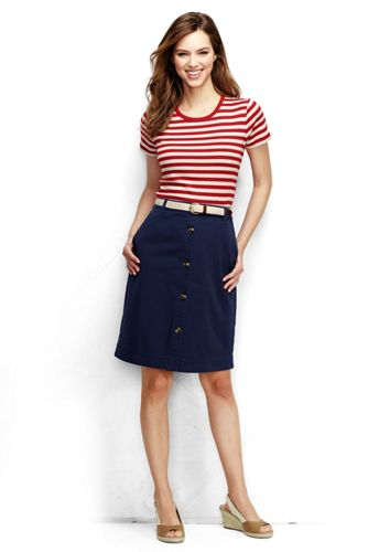 Women's Regular Woven Button Front Chino Skirt