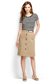 Women's Woven Button Front Chino Skirt