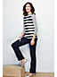 Women's Regular Three Quarter Sleeve Boatneck Mixed Striped RibTop