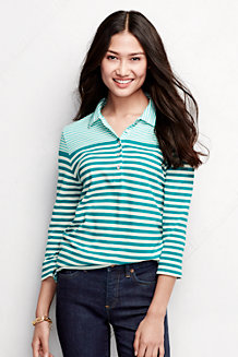 Women's Mixed Stripe Piqué  Polo Shirt