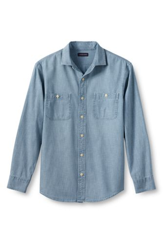 Chambray-Workerhemd, Slim Fit